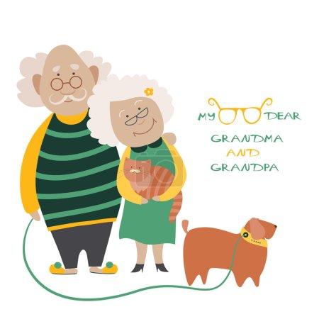 Illustration pour Illustration mettant en vedette un couple de personnes âgées avec leur chien - image libre de droit