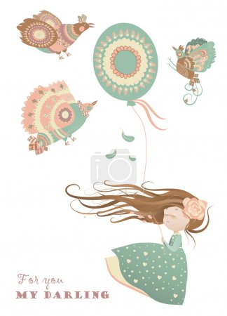 Illustration for Cute girl with colorful birds and balloon - Royalty Free Image