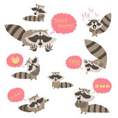 Collection of funny raccoons Vector isolated illustration