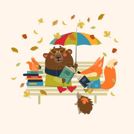 Illustration pour Renard, ours, hérisson et petit écureuil lisant des livres sur le banc. Illustration vectorielle isolée - image libre de droit