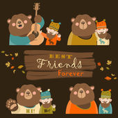 Funny bear and man are the best friends Vector collection