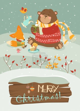 Cute bear and little fox celebrating Christmas