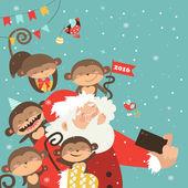 Santa a opice se selfie