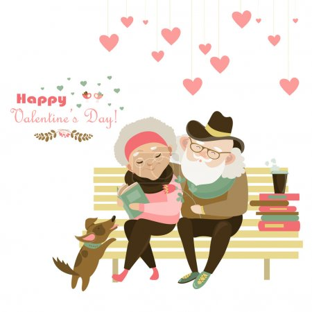 Illustration for Old couple in love sitting on bench. Vector romantic greeting card - Royalty Free Image