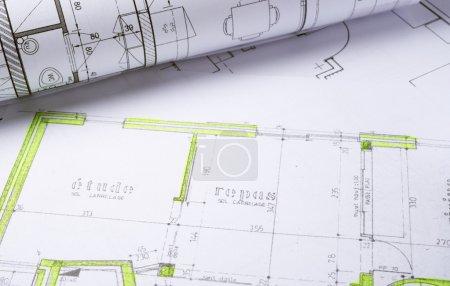 Photo pour Plans d'architecture et croquis du projet de maison - image libre de droit