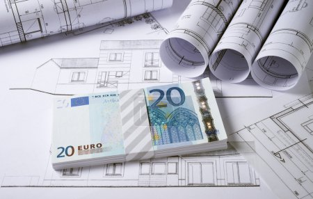 Photo for Architecture plans and sketch of house project with money - Royalty Free Image