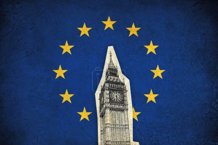 Photo for European Union grunge flag illustration of country with monuments - Royalty Free Image