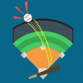 A Baseball Being Hit Out of the Park Stadium by Baseball Bat With Words of Joy Victory Illustration Vector