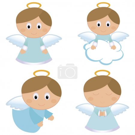 Four different cute angels on a white background...