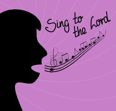 Illustration pour La silhouette de la personne chantant et les paroles Chantez au Seigneur sur un fond violet - image libre de droit
