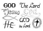 Biblical symbols and biblical lettering with the words God, Lord