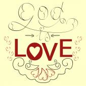 Lettering Bible God is love with hearts