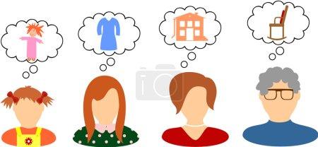 Illustration pour Les rêves et les désirs des femmes de différents âges - image libre de droit