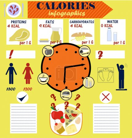 Infographic counting calories, calorie, diet