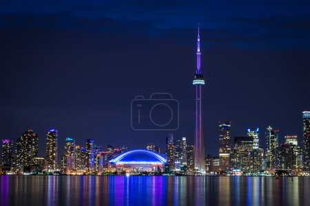 Toronto skyline at night, view, canada, city, cn t...