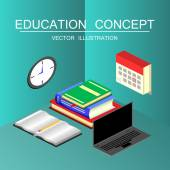 Beautiful isometric education and graduation vector illustration concept 3d back to school background in flat style
