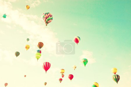 Vintage colorful hot air balloons