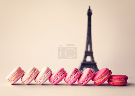 Photo for French macaroons and Eiffel tower - Royalty Free Image