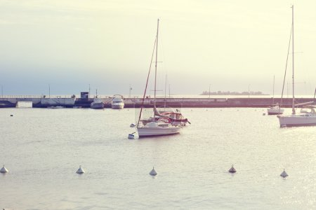 Summer port with boats