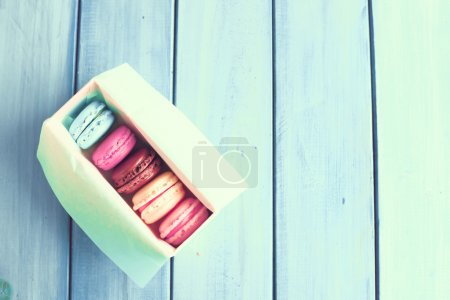 Vintage colorful macaroons on a box