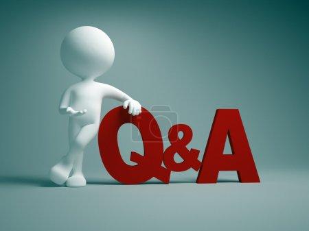 Photo pour 3d personnes - homme, personne pointant un mot Q & R Questions et réponses - image libre de droit