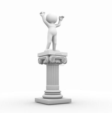 Photo pour Illustration en 3D du caractère humain et de la colonne romaine sur fond blanc - image libre de droit