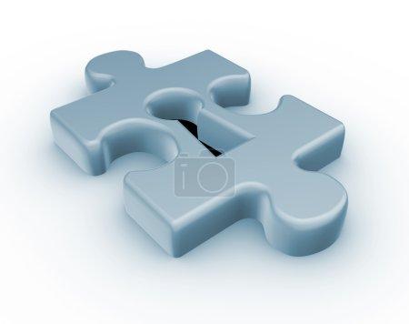 Photo pour Illustration de rendu 3D du trou de la serrure de morceau du casse-tête sur fond blanc - image libre de droit