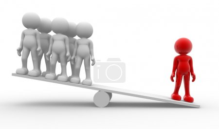 Photo for 3d men - people in balance. Leadership and team - Royalty Free Image