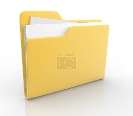 Photo for One office folder on white background, 3d render illustration - Royalty Free Image