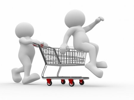 Human with person in shopping cart