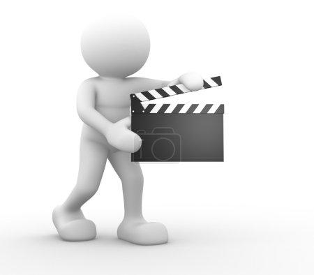 Photo pour Illustration de rendu 3d du caractère humain et clin d'oeil sur fond blanc - image libre de droit