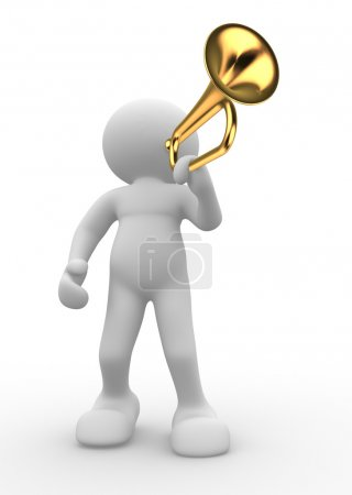 Photo pour 3d render illustration of people icon playing trumpet on white background - image libre de droit