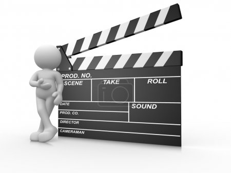 Photo for 3D render conceptual opened clapperboard with white painting man isolated on white background - Royalty Free Image