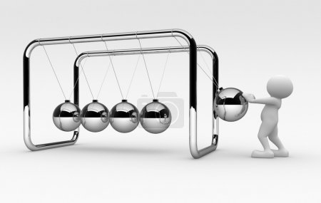 Human character and Newton cradle