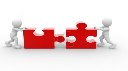 Photo for 3d people with red pieces of puzzle on white background - Royalty Free Image