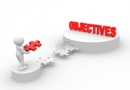 "Photo for 3d people - man with piece of puzzle and word  ""Objective"" - Royalty Free Image"