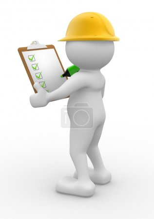 Engineer in helmet with clipboard