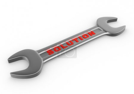 Photo pour Illustration de rendu 3d de clé avec solution de mot sur fond blanc - image libre de droit