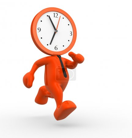 Photo for 3d render illustration of person running out of time on white background - Royalty Free Image