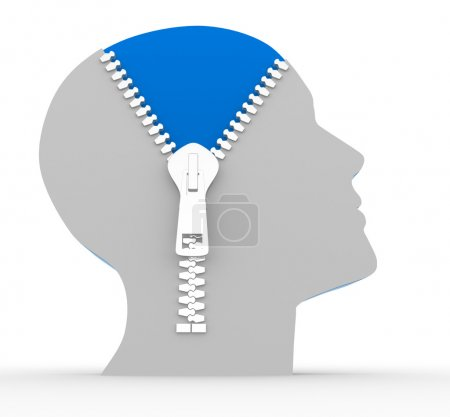 Photo for 3d render illustration of human head and open zipper on white background, concept of intelligence - Royalty Free Image