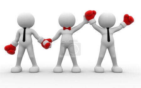 People with red boxing gloves