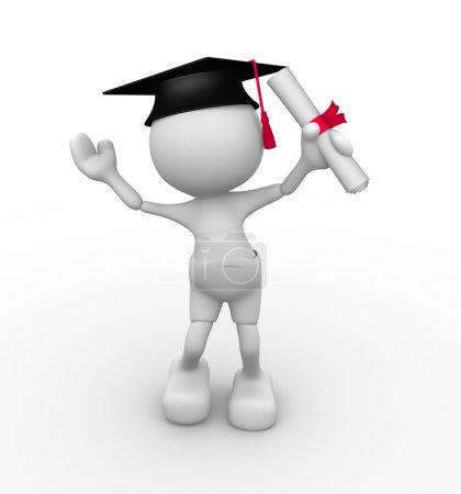 Man with graduation and diploma