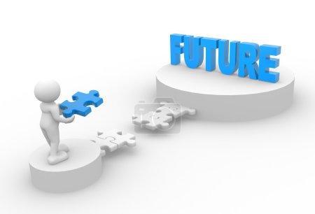 """Photo pour 3d personnes - homme avec morceau de puzzle et mot """"Futur """". - image libre de droit"""