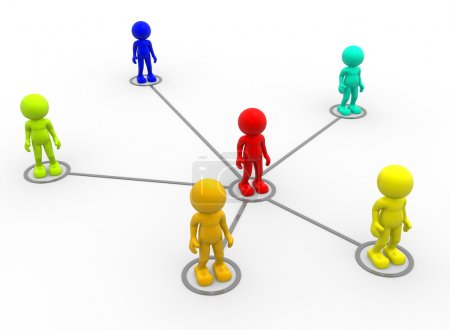 Photo for 3d render illustration of men arranged in network on white background - Royalty Free Image
