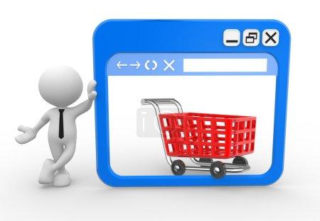 Photo pour 3d personnes - homme avec une fenêtre de navigateur et un panier d'achat. En ligne - image libre de droit