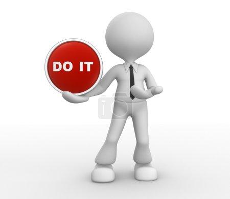 Photo pour 3D homme et un bouton avec texte do it - image libre de droit