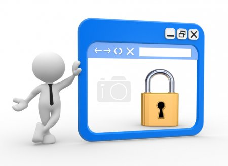 Photo pour 3d personnes - homme avec une fenêtre de navigateur et une serrure. Concept de sécurité . - image libre de droit