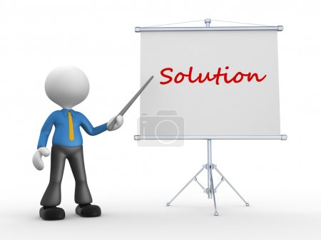 3d man pointing a flip board and word Solution