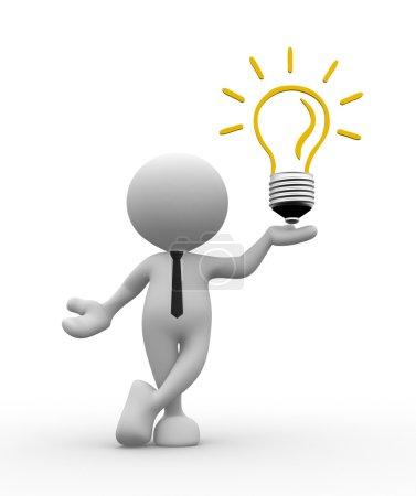 Photo pour Pers. 3D - homme avec une ampoule. Efficacité énergétique - image libre de droit