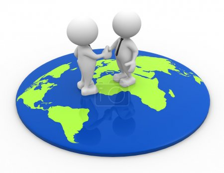 People standing on world map and shaking hand